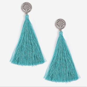 Topshop Jewelry - Topshop Coin Tassel Earrings in Blue